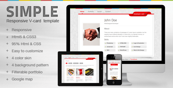 Download Simple V-card Template Yellow Html Templates