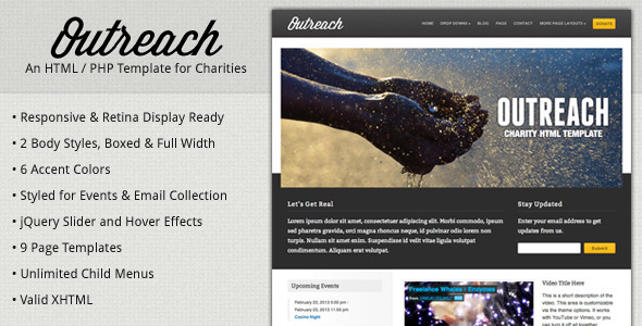 Download Outreach - Charity HTML Template Yellow Html Templates