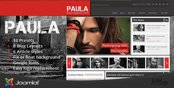 Download Paula - Blog & Magazine Joomla Theme Black Joomla Templates