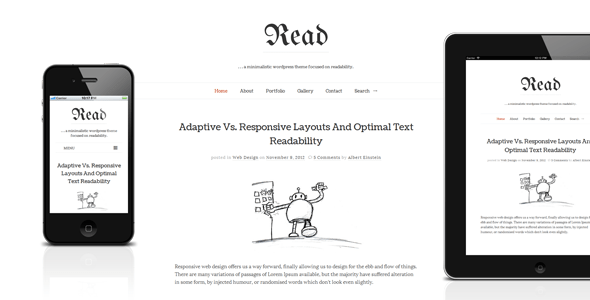 Download Read - Responsive HTML5 Minimalist Template Youtube Blogger Templates