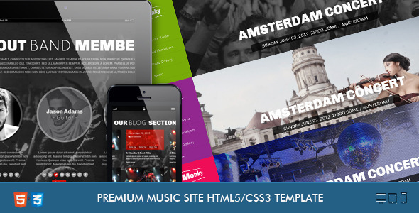 Download Monkey-Music Band Responsive Template Band Html Templates