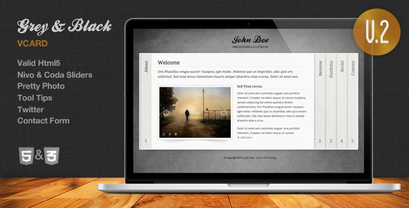 Download Grey & Black - Stylish Online vCard Html Template Black Html Templates