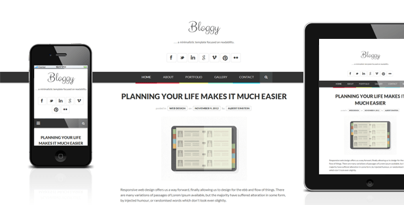 Download Bloggy - Responsive Minimalist Template Youtube Blogger Templates