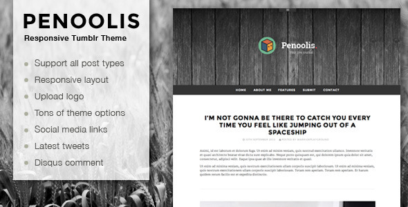 Download Penoolis - Responsive Tumblr Blog Themes Simple Tumblr Themes