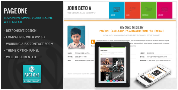 Download Page One - Responsive Vcard CV Resume WP Theme Purple WordPress Themes