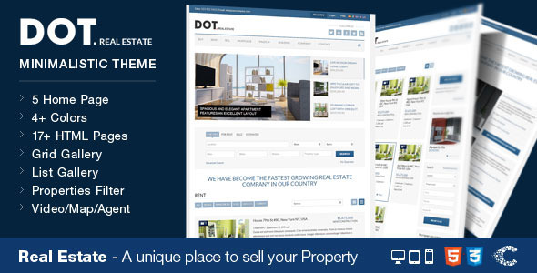 Download Dot Real Estate HTML5 & CSS3 Template Blue Html Templates