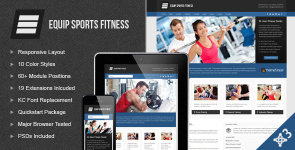 Download Equip Joomla Sports and Fitness Theme 3 Column Joomla Templates