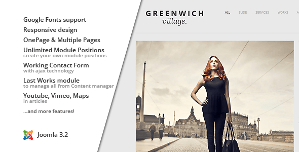 Download Greenwich Village :: Responsive Joomla One-Page Youtube Joomla Templates