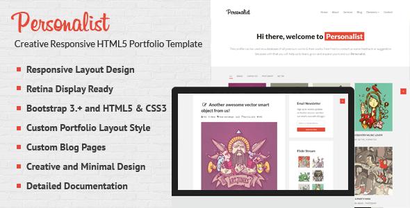 Download Personalist - Creative Portfolio HTML5 Template Red Blogger Templates