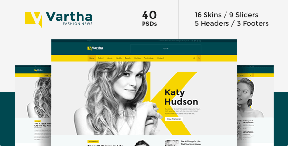 Download Vartha - PSD Yellow Joomla Templates