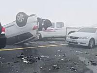 濃霧の大事故映像。視界数メートルの高速道路で44台が絡んだ事故の現場がすごい。