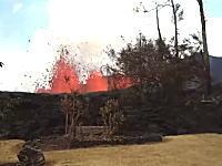 俺んちの裏庭が噴火してる(´・_・`)ハワイ住人が投稿した動画が話題に。