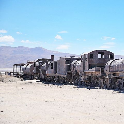 Train cemetery in Uyuni Bolivia This picture has something stronghellip