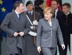 (ALLIANCE)- BERLINO : IL PREMIER MATTEO RENZI INCONTRO ANGELA MERKEL   New Italian Prime Minister Matteo Renzi is welcomed military honors by German Chancellor Angela Merkel (CDU) during his first official visit in front of the German Chancellery in Berlin, Germany, 17 March 2014. Renzi is accompanied by some ministers who are going to meet their ministerial colleagues during the German-Italian government consultations. Photo: Maurizio Gambarini/dpa - Infophoto