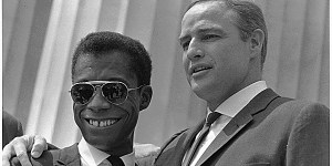 James Baldwin with Marlon Brando at the March on Washington in 1963.