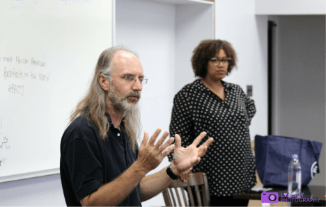 Richard HIlleman, vice president and chief creative officer at EA Games, visits Howard University with Mari Roberts, EA's university relations manager.