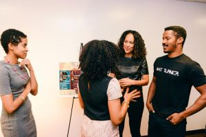 """Writer-director Gina Prince-Bythewood and actor Nate Parker answer questions at """"Howardwood."""""""