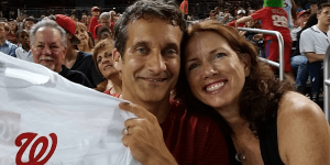 Michael McCarthy and his wife, Maureen, attend a Washington Nationals game.