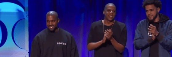 Kanye West, Jay Z and J. Cole at Tidal announcement in New York.