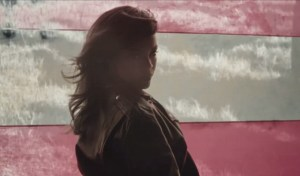 "Screen shot from the video for Rihanna's single ""American Oxygen."""
