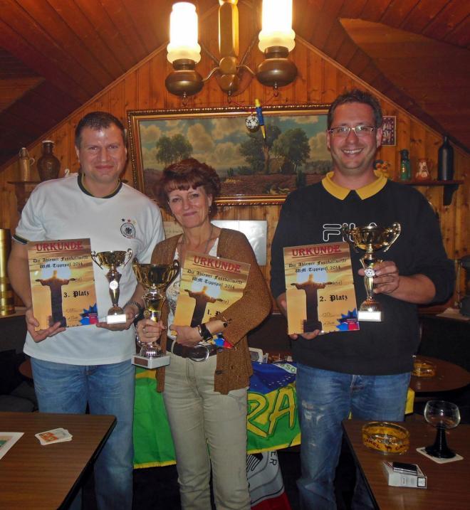 Siegerehrung WM 2014: Die Sieger vom WM-Tippspiel 2014: (von links) Tobi, Cati und Volker