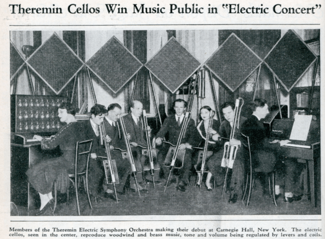 The 'Theremin Electric Symphony Orchestra' c1932. The Keyboard Theremin is on the right with a Theremin Harmonium on the left and several Theremin Cellos in the centre.