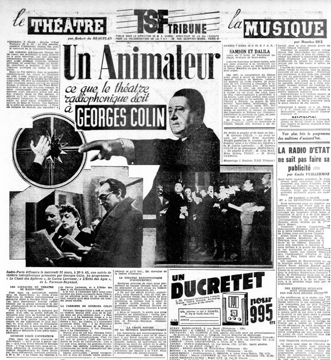 """The film actor Georges Colin presents Obukhov's """"Chants Des Spheres """" with the chorus and the Croix Sonore. Photo; L'Ouest-Éclair March 6th 1936."""