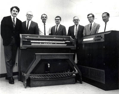 The Rockwell/Allen Computer Organ engineering  team with a prototype model.