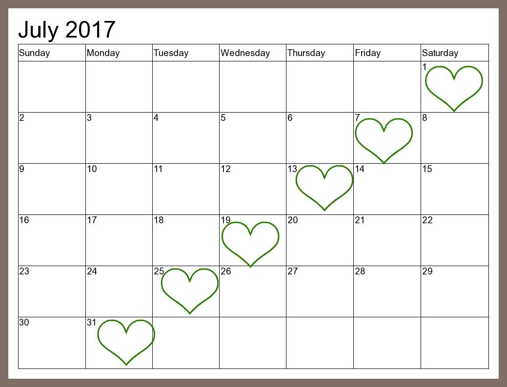 July 2016 2017 Calendar
