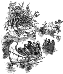 1673 Chicago history, Louis Joliet and Father Jacques Marquette in canoe