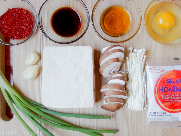 9 simple ingredients to make Spicy Tofu Stew