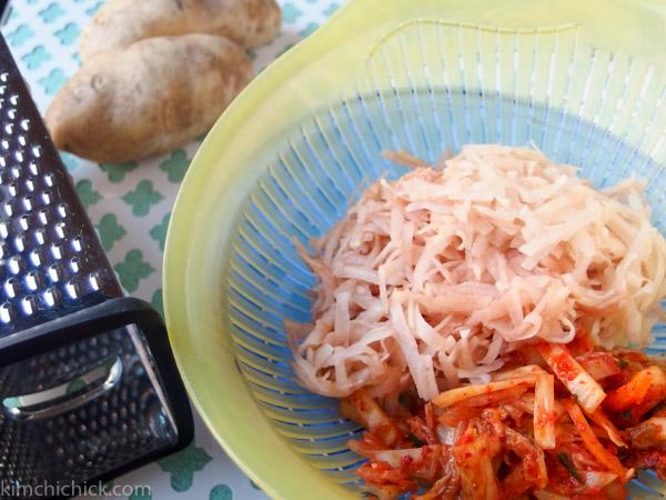 potato and kimchi shaved