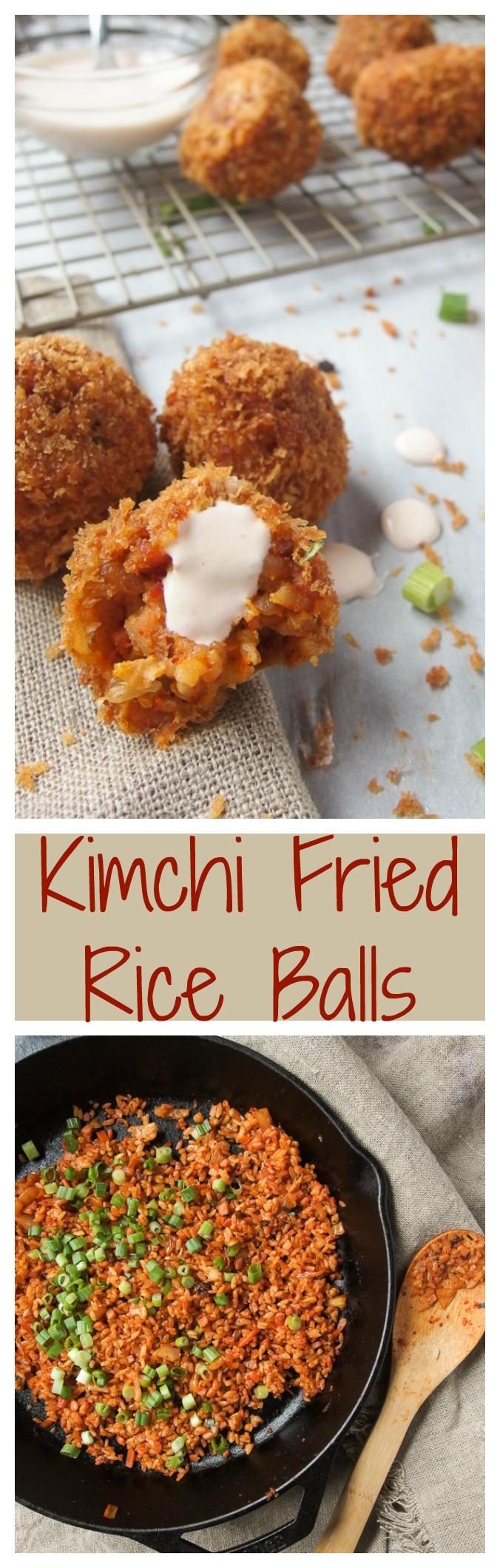 Kimchi Fried Rice Balls with Sriracha Crema are crunchy, spicy, and savory!