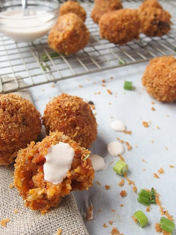 Kimchi fried rice balls are crunchy, spicy, and savory! It's the perfect snack or appetizer that everyone will love!