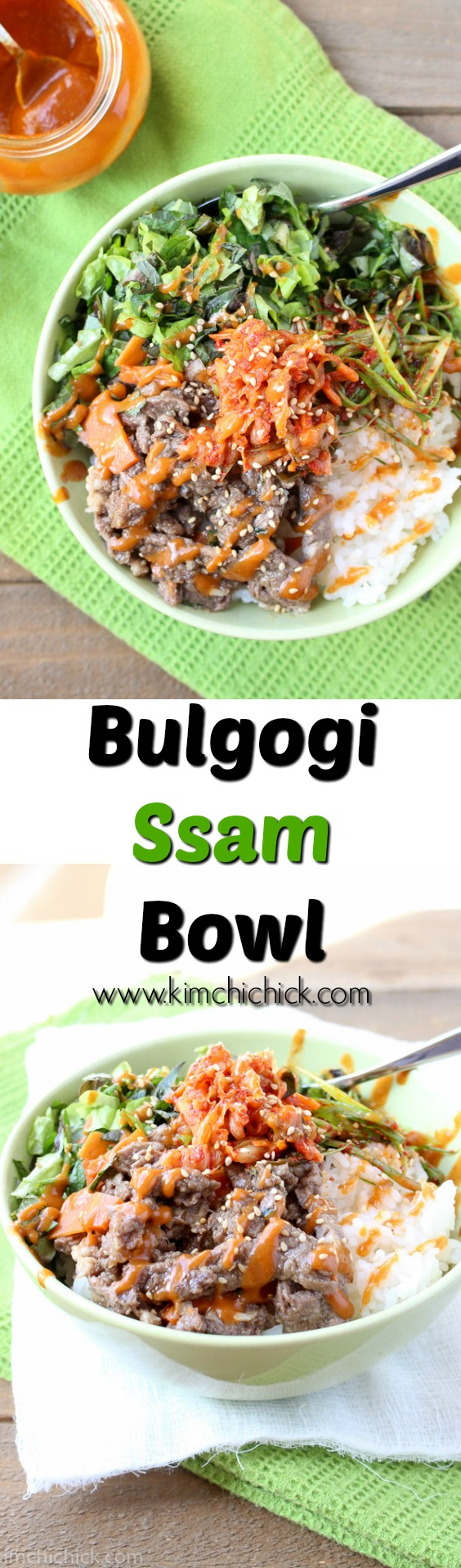 Bulgogi Ssam Bowl is bulgogi, fresh greens, kimchi, seasoned scallions, and rice in one bowl. Drizzle Ssam sauce on top and you have one fresh and satisfying meal!