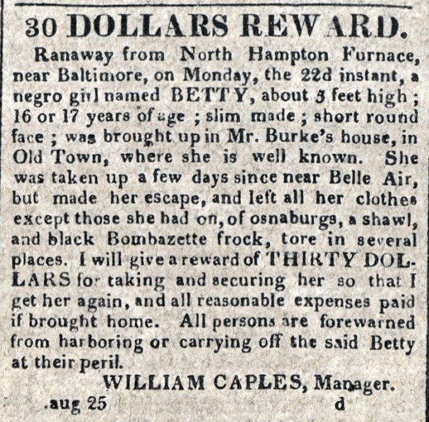 American Commercial and Daily Advertiser, August 25, 1814. Maryland State Archives, SC3392.