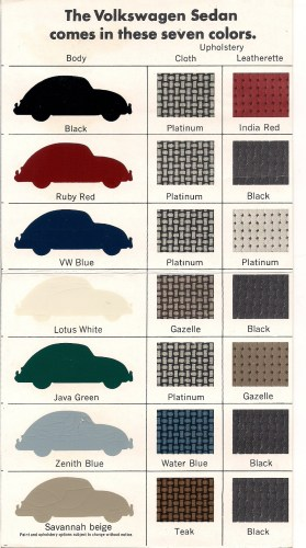 '67 Beetle Colors
