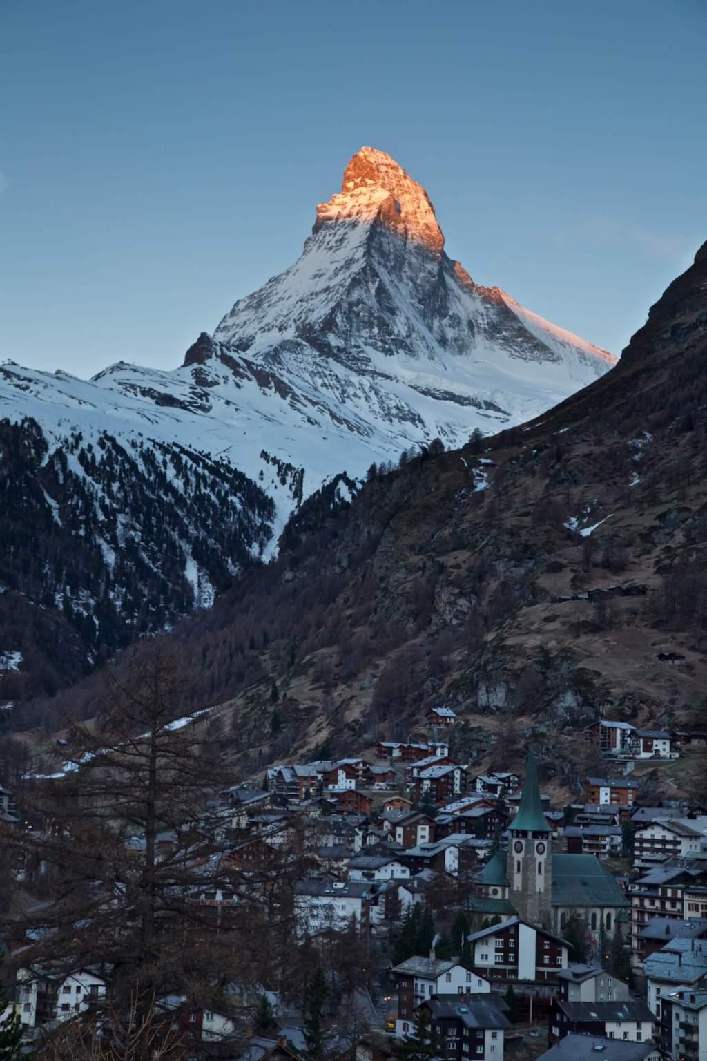 The Matterhorn from Zermatt village  Buy Now