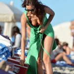 **EXCLUSIVE** Russian supermodel Irina Shayk bashfully hides her flawless physique while on the beach in Miami