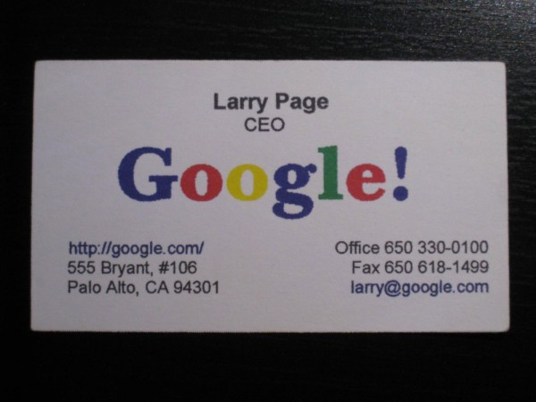 Google business card from 1998