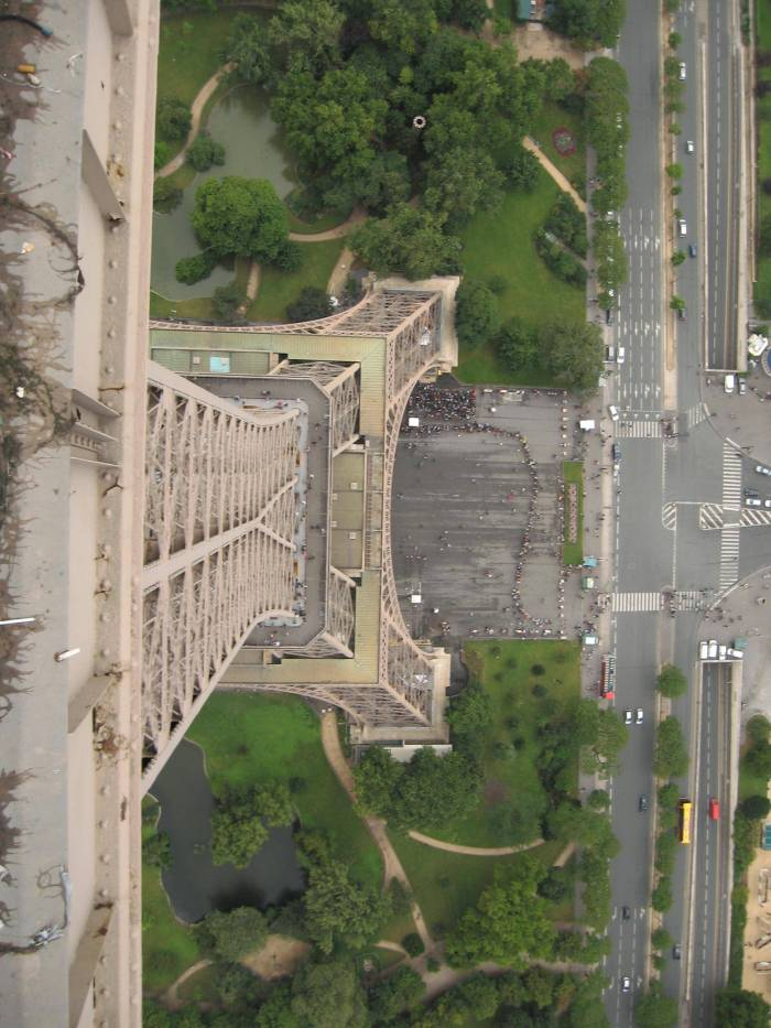 Looking down the Eiffel Tower