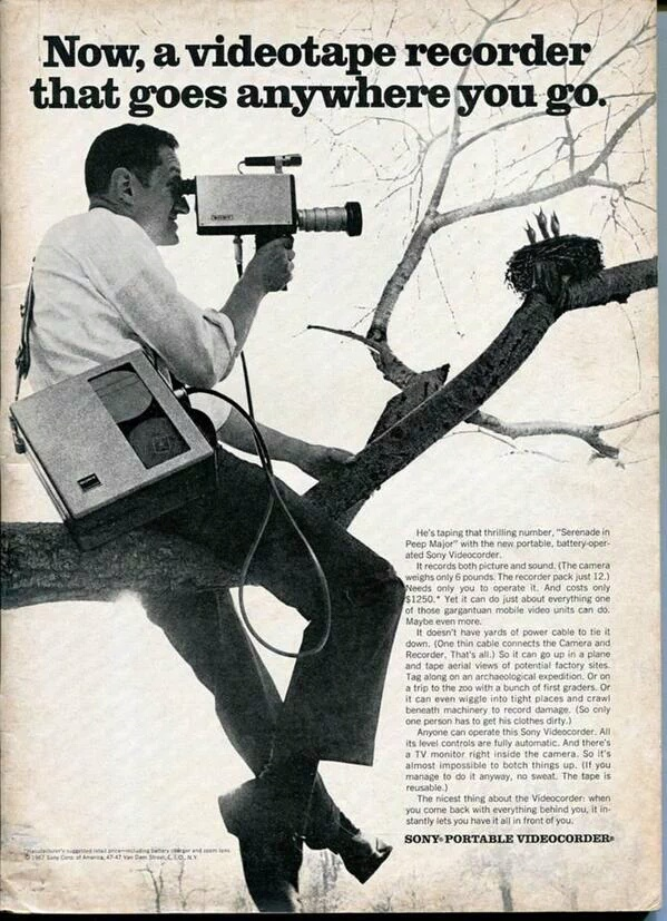 Sony Videotape Recorder Print Ad From 1967