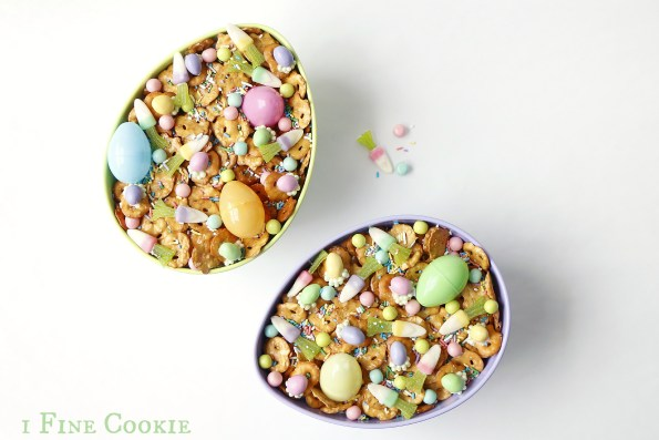 bunny food Easter mix by 1 Fine Cookie, bunny, food, snack, mix, easter, ideas, pretzel, eggs, chocolate, cadbury, carrot, candy, chex, cute, candy corn, pastels, sprinkles, easy, chocolate, recipe