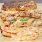 grilled cheese, grilled pimento cheese, sandwiches, recipe, grilled, pimento, cheese, jalapeño, bacon, tomato, pimento grilled cheese, southern, comfort, food, spicy, gooey, cheesy, idea, easy,
