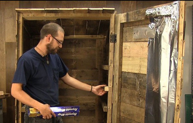 Line with Foil | Build A Homemade Pallet Smoker