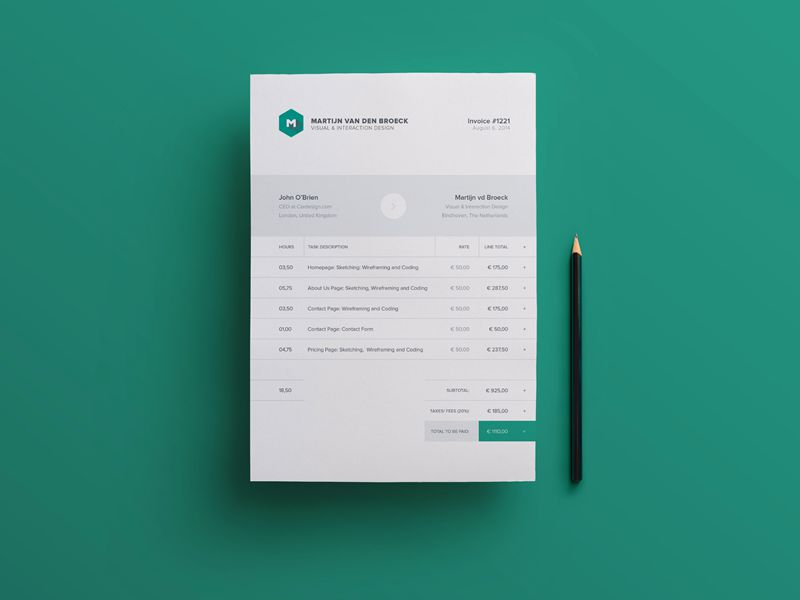 10 Free Invoice Templates for Creatives   1stWebDesigner Modern Beautiful Free Invoice Templates for Creatives