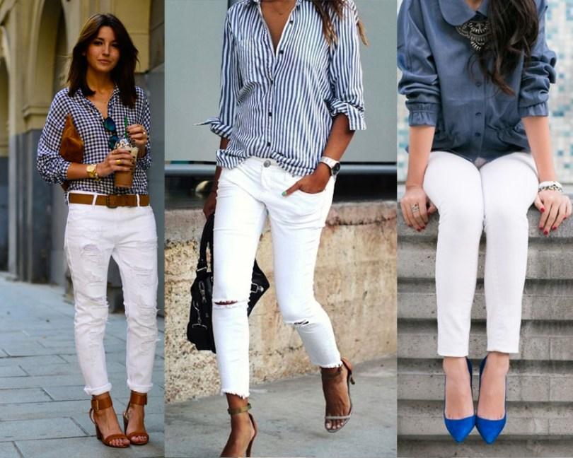 jean blanco y camisas