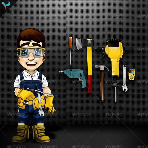 Animatable Fix It Man Mascot Character