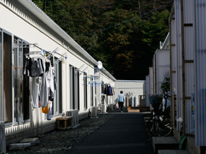AAR's Flowers and Messages for Tohoku program will help brighten up temporary housing such as this.