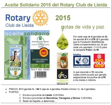 Aceite Solidario 2015 del Rotary Club de Lleida+